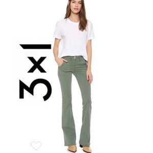 3x1 • military flare jean in achilles green